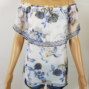 WHBM Floral Off the shoulder Embroidered Blouse